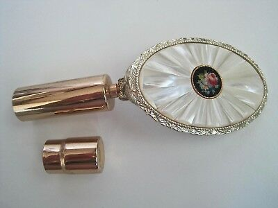 Vintage Mother of Pearl Petit Point Needlepoint Compact Lipstick Holder Mirror