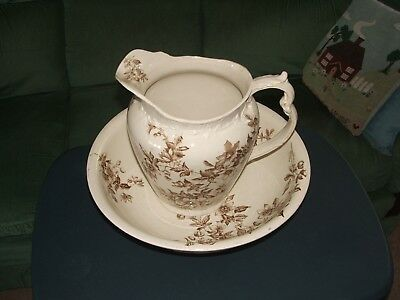 Vintage Jug And Bowl Wash Basin  Brown & Cream Floral Design