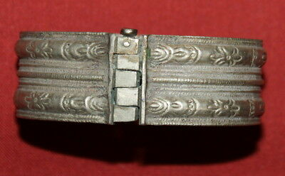 Antique Greek Handcrafted Engraved Silver Folk Hinged Cuff Bracelet