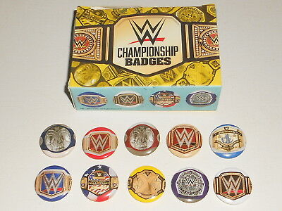 10x WWE Wrestling 2017 Pin Badge Set + Storage Box