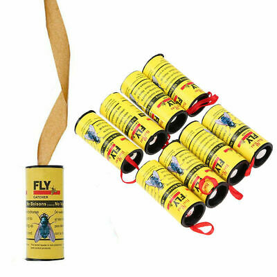 Insect Bug Fly Hanging Glue Catcher Killer Trap Ribbon Tape Strip Sticky Rolls