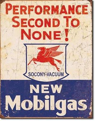 Mobilgas Performance Second To None Gas Motor Oil Metal Tin Sign