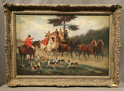 19th Century Painting Horse Carriage & Fox Hunting Scene With Dogs In Landscape