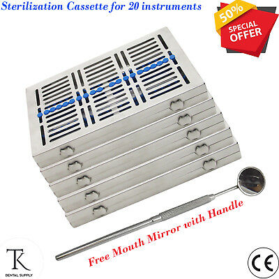 5x Dental Sterilisation Cassettes set of 5 for 20 Instruments Rack Surgical Tray