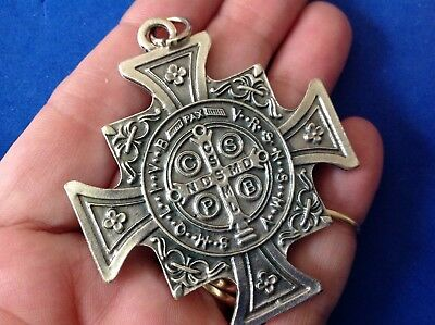 Rare ST BENEDICT Protection Saint Medal Silver Tone Oxidized Metal Large