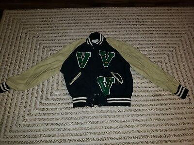 Lincoln High School Varsity Leather / Wool Jacket Green & Beige size Large