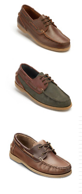 Mens Dartsmouth Leather Casual Deck Shoes Lace Up Summer Loafers Sizes New UK