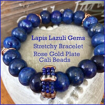 Awesome Bracelet Stretchy Stacker Lapis Lazuli Rose Gold Cali Beads Lge 10/12 Mm