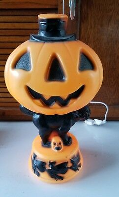 "Empire 14"" Halloween Jack-O-Lantern Pumpkin Black Cat Witches Blow Mold VINTAGE"