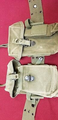 US Military pistol belt with 2 ea, 3 magazine , ammo pouches