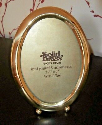 """ANTIQUE STYLE SOLID BRASS OVAL EASEL STAND PHOTO FRAME ~ photo 3 1/2"""" x 5"""""""