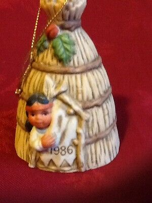 Gregory Perillo Sagebrush Kids 1986 Christmas Bell Ornament Wigwam & Indian