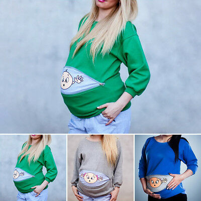Cartoon Baby Girl Print Staring Funny Maternity Tops T-shirts for Pregnant Women