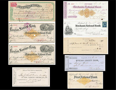 Nine 1850s-1890s Cancelled Checks-IA-IL-MA-ME-NY-PA