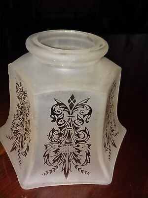 Vintage Etched victorian style glass shade 3 1/4 inch fitter. 5 1/4 height