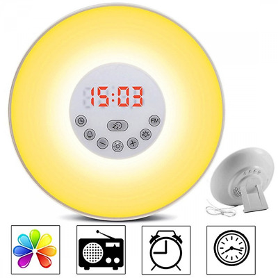 Alarm Clock Brightness Automatic Adjustment Sounds Touch Control Night Light NEW