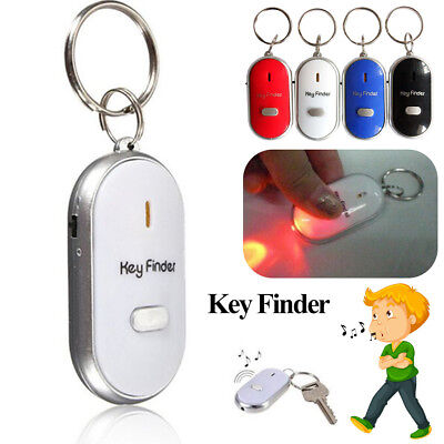 LED Anti-Lost Key Finder Find Locator Keychain Whistle Beep Sound Control Torch