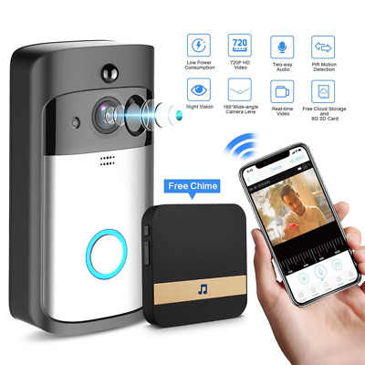 Smart Video Doorbell Wireless Security Camera SD Card Cloud Service 2-Way Talk