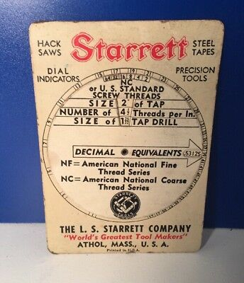 1943 L.S. STARRETT Decimal Equivalent ~ SCREW THREADS ~ Tap Drill ~ WHEEL CHART