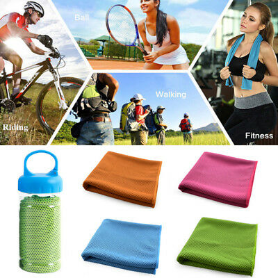 Cool Down Gym Towel Sports Fitness Jogging ICE Cold Instant Cooling Cloth Box