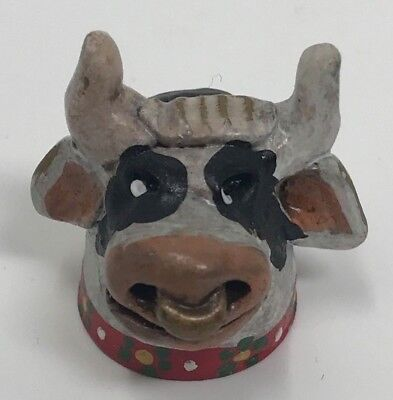 THIMBLE Hand Made COW Bull w/ Bell Animal Farm SEWING Collectible Display GIFT