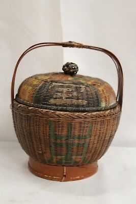 Antique Chinese Hand Painted Happiness Symbol Old Primitive Basket Meiji Period