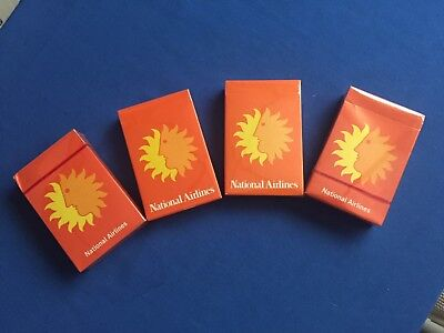 4 Vintage Decks of National Airlines Playing Cards Cellophane Sealed-Never Used
