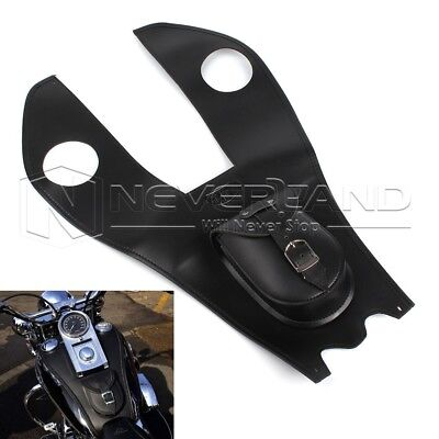 Black Leather Gas Tank Tool Bag Cover Pad +Pouch For Harley Electra Street Glide