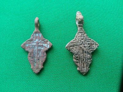 Russian Orthodox Christian Byzantine Schema Style Cross . 19th century 2 pieces