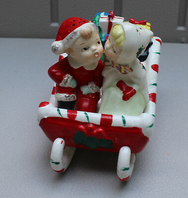 Vintage Lefton Sleigh with Boy & Girl Salt & Pepper Shakers Presents Cute