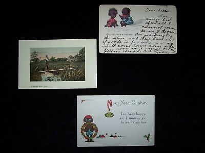 Black Americana Postcards, Group of Three, Early 1900's, VG Condition.