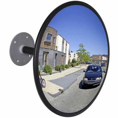"""12"""" Outdoor Traffic Convex PC Mirror Wide Angle Driveway Safety Security Black"""