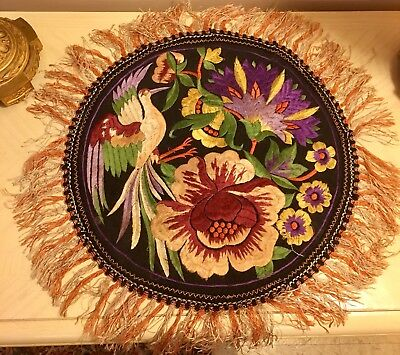 Beautiful Colorful Antique 1872 Silk Embroidered Pillow England Exotic Look