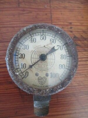 """Vintage The Deming Co. The Worlds Best """"Harley Gauge Co"""" Steam Punk Boiler Rusty"""