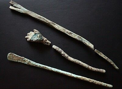 Collection of 3 Ancient Roman Bronze Hair Pin Needles, c 150-350 Ad. Hairdress