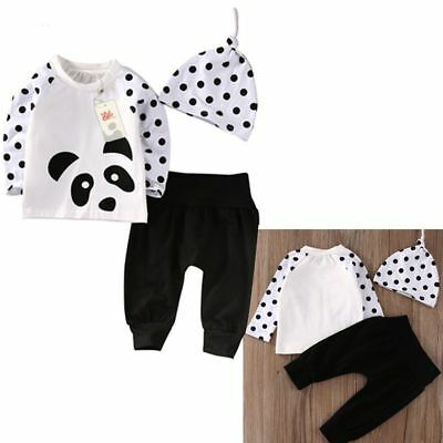 Newborn Baby Boys Girls Clothes Tops T-Shirt Pants Leggings Hat Outfits 3PC X1N6