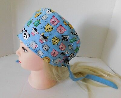 Unisex Surgical Scrub Hats Caps Medical Women Men 100% cotton,lined Tie Back