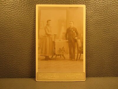 Victorian Antique Cabinet Card Photo of Sister and Brother, Siblings