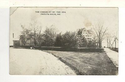 c1910 Real Photo PC: Prouts Neck, ME Road Leading To Checkley – Woman Sweeping