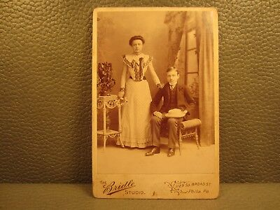 Victorian Antique Cabinet Card Family Photo of Sister and Brother