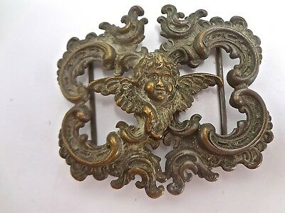Antique Victorian Repousse Two Part CHERUB Plated Brass Belt Buckle