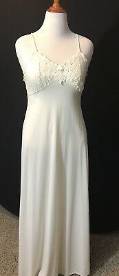 VINTAGE  SHADOWLINE NYLON NIGHTGOWN LACE TOP Straps Long Valentines Day Bridal