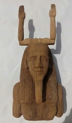 Replica Rare Antique Ancient Egyptian upper part of wooden statue of king Hor BC