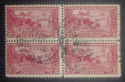 RIV: US Used 618 Block of Four 2 cent 1925 Birth of Liberty Lexington-Concord 2X
