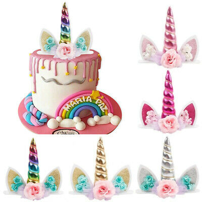 Glitter Unicorn Horns Cake Topper Kids Birthday Party Decor Baby Cupcake Supply