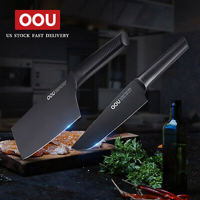 OOU Anti Corrosion 2pcs Kitchen Knife Set Cleaver Chef Knife Stainless Steel new
