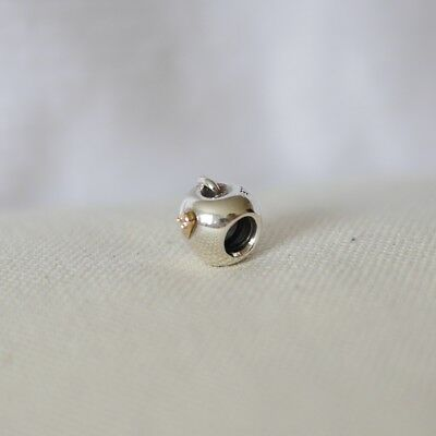 Authentic Pandora Silver & 14K Charm APPLE WORM #790168 (RETIRED)