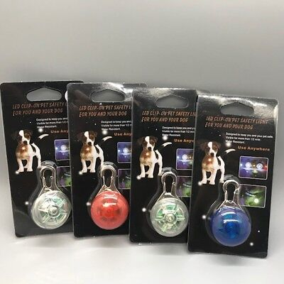 LED Safety Clip On Light w/Battery,Flashing/Solid,Night Pendant Pet (4 PACK)