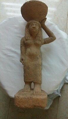 Replica Rare Antique Ancient Egyptian wooden statue of Isis BC