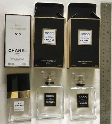 Empty Chanel perfume bottles with original boxes Lot of 3: 2 Coco, 1 No. 5